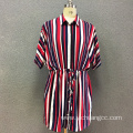 Women's viscose stripe printed long sleeves dress