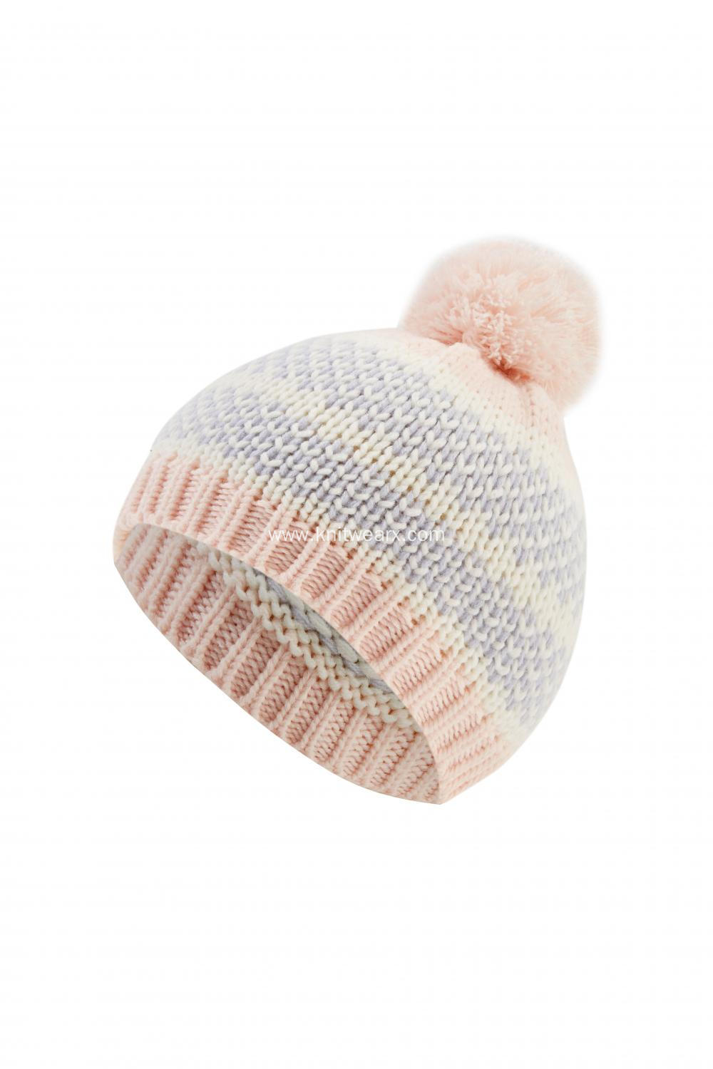 Girl's Knitted Striped Pompom Beanie Cap