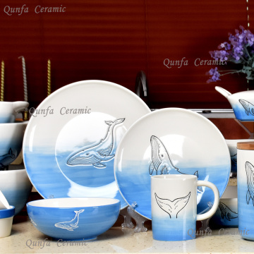 Ocean Dolphin design dinner wholesale ceramic dinnerware