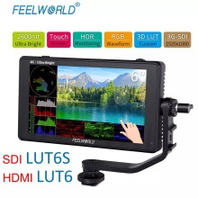 FEELWORLD LUT6 LUT6S 6 Inch 2600nit HDR 3D LUT Touch Screen on Camera Field DSLR Monitor with Waveform VectorScope for Youtube