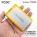 1Pcs 3.7 polymer lithium battery 906090 6000MAH GPS mobile power flat battery Rechargeable Li-ion Cell For Tablet Digital