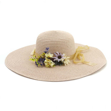 Silk ribbon bowtie plain floppy straw hat