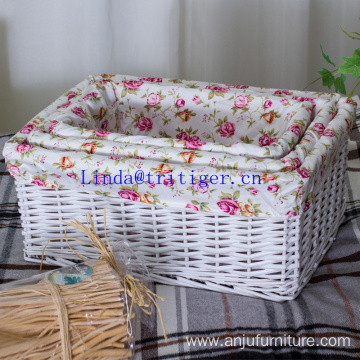 Factory wicker weave storage basket with fabric liner cover organizer