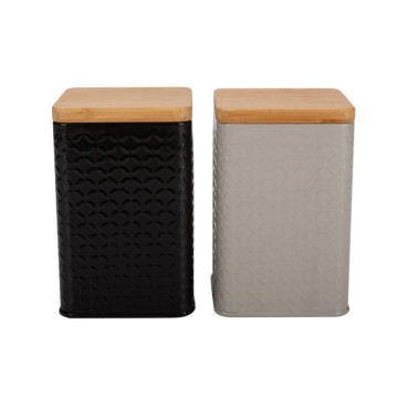 Bamboo lid tea sugar coffee canister