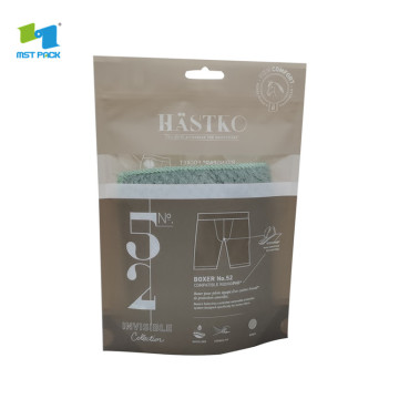 transparent compostable plastic packaging bag with logo for underwear