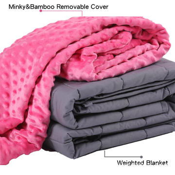 15lbs Glass Beads Weighted Blanket With Mink Cover