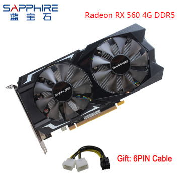 SAPPHIRE AMD Radeon RX 560 4GB 128bit GDDR5 Graphics Card PCI Desktop RX560D Video Card For PC Gaming For Used Cards Gamer