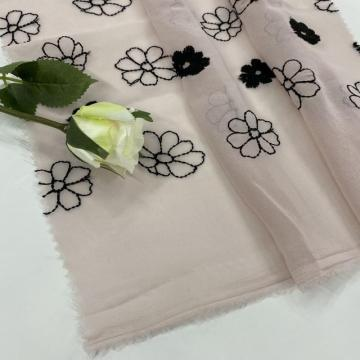 Black Milky Yarn Flower Chiffon Embroidery Fabric