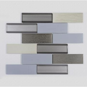 Three-color luxury smooth glass mosaic tiles
