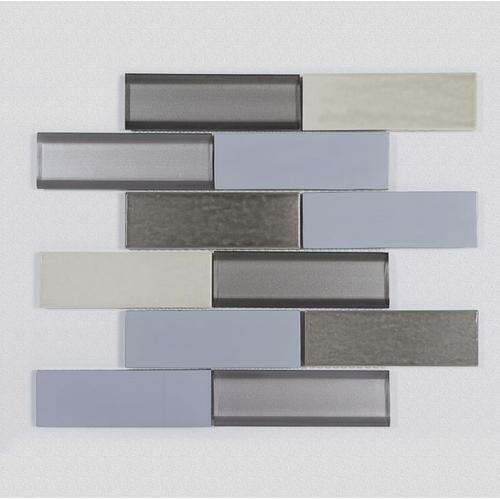 Three-color modern smooth glass mosaic tiles