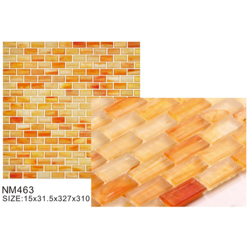 Vibrant orange glass frosted mosaic tiles