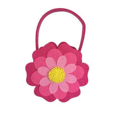 Easter felt flower shape small candy bag