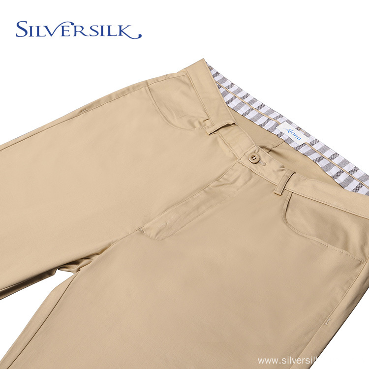 Stretch cotton adults casual zipper fly men pant