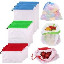 3PCS-15PCS Reusable Ecological Bags For Toys Fruit Vegetable Zero-waste Mesh Popular Cotton Eco friendly Shopping Bags For Fruit