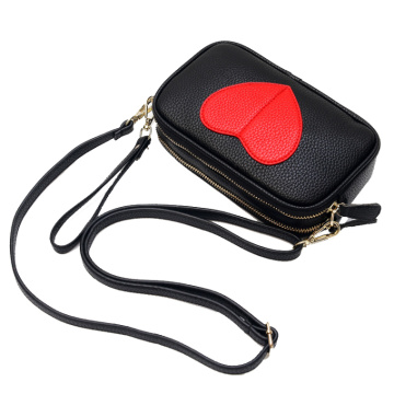Custom Leather Peach Heart Single Shoulder Messenger Bag