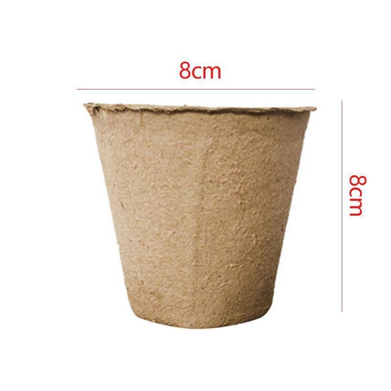 10Pcs Round Biodegradable Paper Pulp Peat Pot 8x8cm Plant Nursery Cup Tray Vegetable Fruit Nursery Tray Pot Cup Garden Drop ship