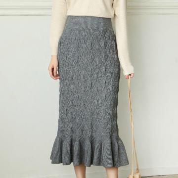 Solid Color Knitted Midi Skirt