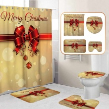 Merry Christmas Bathroom Set Christmas Bells Pattern Waterproof Shower Curtain Toilet Cover Non-Slip Carpet New Year Decoration