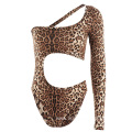 Asymmetric Design Women Leopard Print One-piece Swimsuits