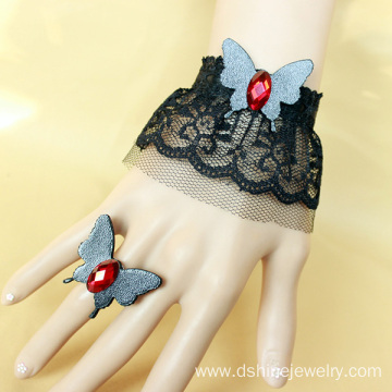Imitation Leather Butterfly Crochet Lace Bracelet With Ring