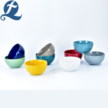 Selling Colorful Stoneware Ceramic Leaf Relief Bowl Set
