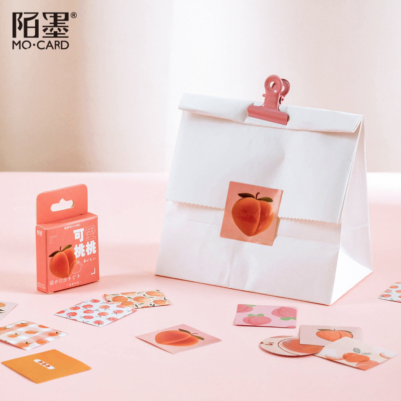 46pcs /Pack Fresh Pink Peach Paper Decorative Stickers Phone Dairy Adhesive Stickers Kids Gift