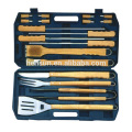 18pcs Wooden roasting tool set with plastic case