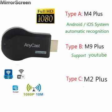 Anycast Wireless WiFi Dongle Receiver TV stick Adapter M2/M4/M9 Plus Android 1080P DLNA Airplay Miracast TV for YouTube