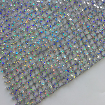 Shiny Sequins Chemical Lace Embroidery Fabric