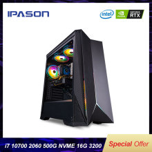 IPASON VGAME Gaming Desktop Computer 10th Gen i7-10700 RTX2060-6G DDR4 RAM 16G 512G SSD Gaming Computer For PUBG Gamers