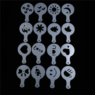 16Pcs/Lots Coffee Latte Mold Fancy Cappuccino Cake Cookie Stencil Template Decor Barista Duster Art Banking Tools
