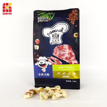 Box Pouch With Front Zipper Dog Food Packaging