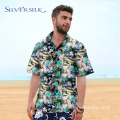Personalized Funny Mens Green Floral Printed Shirt Man