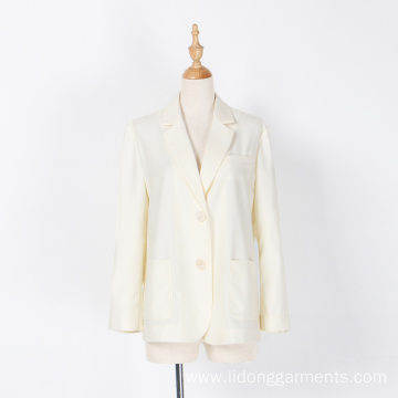 Office Women White Cotton and Hemp Net Suit