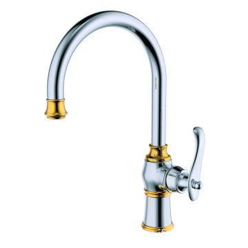 Brass single hole kitchen mixer faucet tap polished