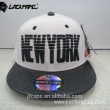 3D embroidery leather visor snapback hiphop flat cap