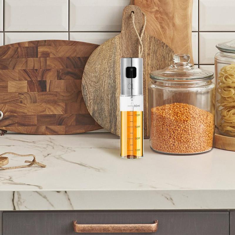 100mL Leakproof Stainless Steel Olive Oil Sprayer Kitchen Oil Spray Bottle Oil Dispenser Vinegar Seasoning Kettle Kitchen Tool