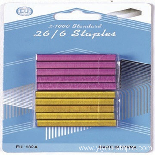 26/6 Colorful Office Blister Packing Small Mini Staples
