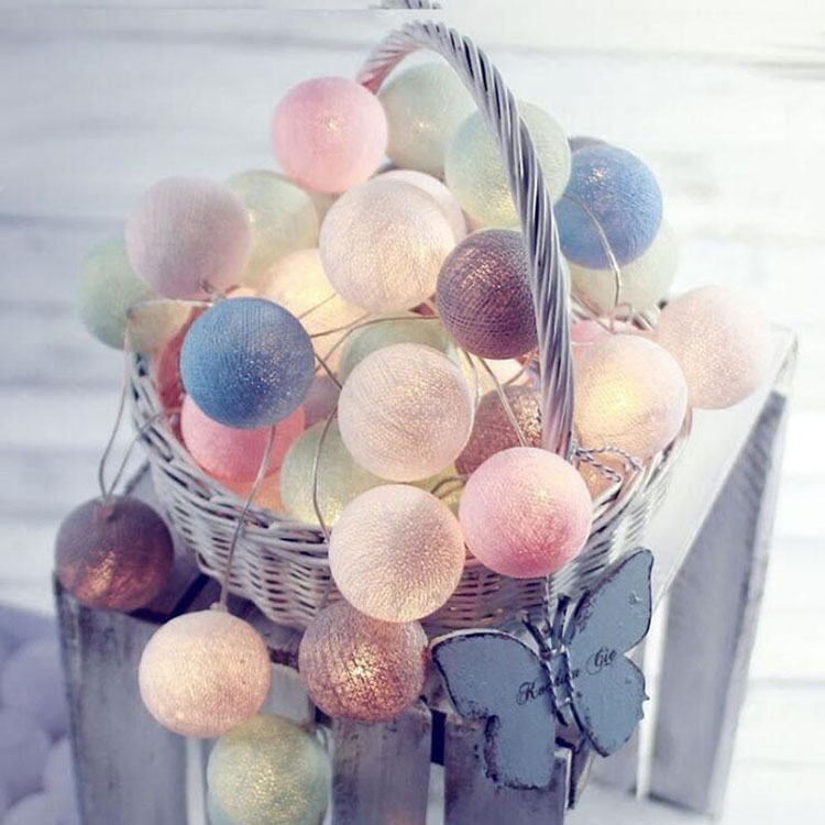 2 aa battery cotton string light ball for festival