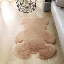 Faux Rabbit Fur Cartoon Bear Shape Carpet Non-Slip Area Rug for Bedroom Door Mat Suck Water Bath Mat Animals Print Carpet