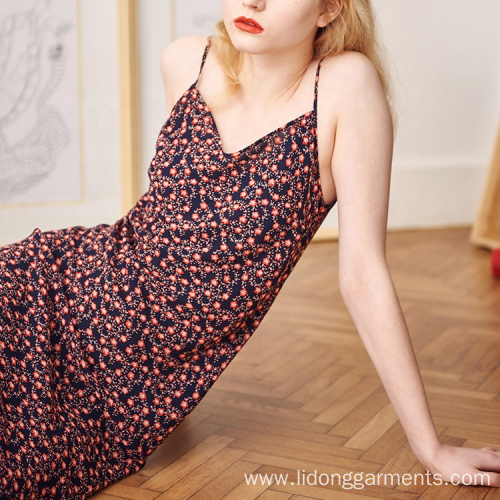 Floral Printed Women Mid Length Knee Sleeveless Dresses