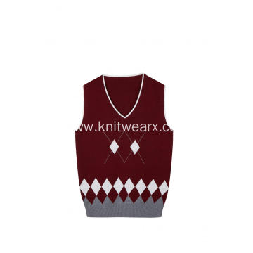 Boy's Knitted Diamond Jacquard Argyle School Vest