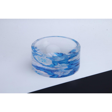 Acrylic Round Ashtray Blue Waved pattern