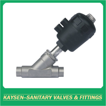 Sanitary welded plastic pneumatic angle seat valve