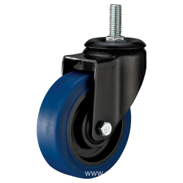 5inch Threaded Stem Swivel Electrophoresis Black Blue TPR Casters