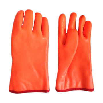 Fluorescent Double Dipped.Sandy Finish PVC Glove 35cm