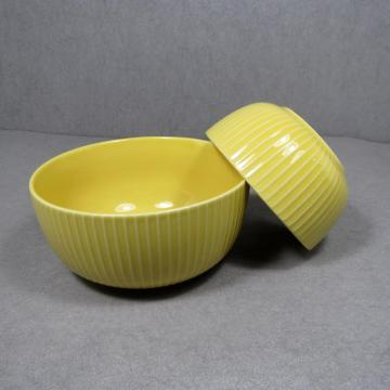 Stoneware Bowl and Mugs Yellow