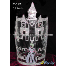 Large Rhinestone Castle Crown Cinderella Shape