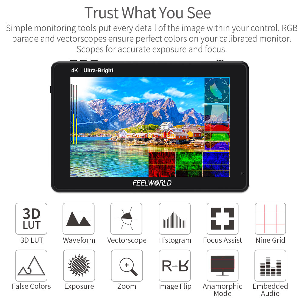 FEELWORLD LUT7S 7 Inch 3G-SDI 4KHDMI 2200nits 3D LUT Touch Screen DSLR Camera Field Monitor with Waveform VectorScope Histogram