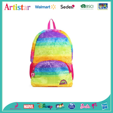 Soft plush rainbow color backpack